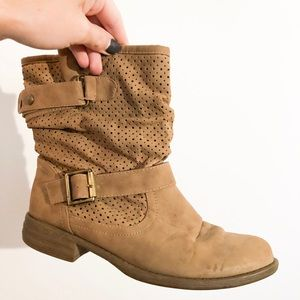 SKECHERS mad dash buckle boots tan size 6 1/2